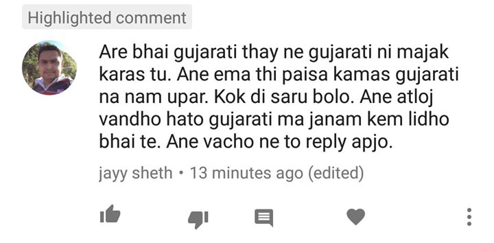 I get this illogical comment a lot of times. So I am clearing this once and for all.  1. Gujarati potani jaat par hasva ni kshamta dharave chhe. Being a Gujarati if I can't make joke about Gujaratis.. what's the point of comedy then ? First rule.. learn to laugh at yourself.   2. Hoon matra Gujarati nej nathi hasavto. As a comedian hoon caste religion language nathi joto. Hoon Khali hasava maangu chhu bhale audience maan koi pann bethu hoyy.  4. As a comedian.. potana anubhav pramaane comedy Karie tto audience vadhare connect Kare. Potani real story maan sachaai chhe je kyarek kadvi pann laagi shakey.  3. I am Gujarati by birth. Comedian by Choice. Gujarati hovano garv chhe. Comedian hovani Khushi chhe.  Agar potani JAAT par hasi nathi shakta tto biji vyakti athwa Jaati na jokes par tamney hasvaano koi haqq nathi.