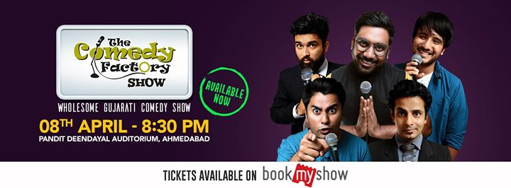We bring to you a Wholesome Gujarati Comedy Show! Enjoy Stand-up, Improv and Musical Comedy like never before!  Grab your seats now! Tickets are available on BookMyShow https://in.bookmyshow.com/events/the-comedy-factory-show/ET00072542
