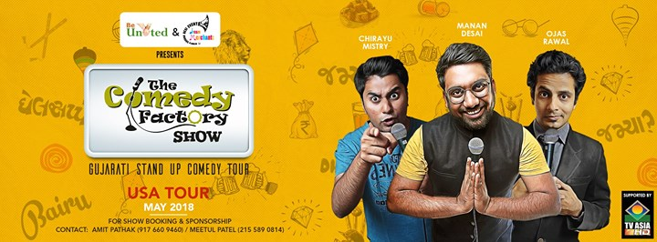 After a very successful Australia Tour, We are coming to various cities in USA, with our Gujarati Stand- up Comedy tour!  27th April: Los Angeles 28th April: Seattle 29th April: San Jose 2nd May: Columbus 3rd May: St. Louis 5th May: Chicago 6th May: Boston 9th May: New Haven 10th May: Baltimore 11th May: Rockville 12th May: Edison & Harleysville 13th May: Flushing & New Haven 15th May: Wilmington 16th May: Lansdale 17th May: Roanoke 18th May: Atlanta 19th May: Orlando 20th May: Tampa  Stay tuned to our event page for all the ticket and venue related details!  https://www.facebook.com/pg/thecomedyfactory/events/