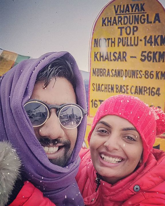 Sardar Khan meets Michelle McNally at the top of the world. Our first snowfall together.   #KhardungLa #LadakhTrip