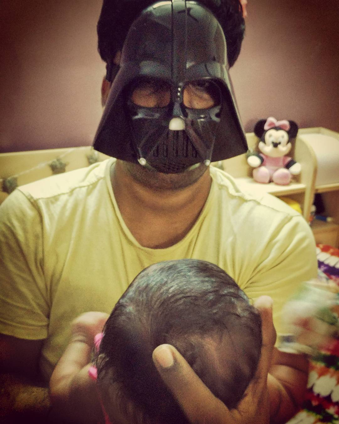*Heavy Breathing* I am your Father *Exhale*  Welcome to the Dark Side. We've got Cookies & Toys!  Proud be Father of a Beautiful Daughter - Dhyana Desai.  #starwars #darthvader #darkside #OHMYGODIAMAFATHER!