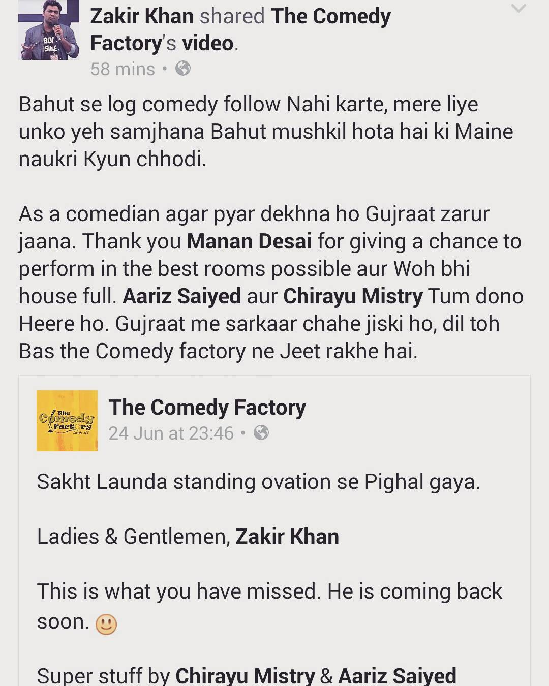 Such words of love encourages us to do more shows for our audience and more comedians from all over the world. Thank you @zakirkhan_208 for one of the best shows we have had so far. More to come at @thecomedyfactoryindia  #SakhtLaunda #Moment #thecomedyfactory