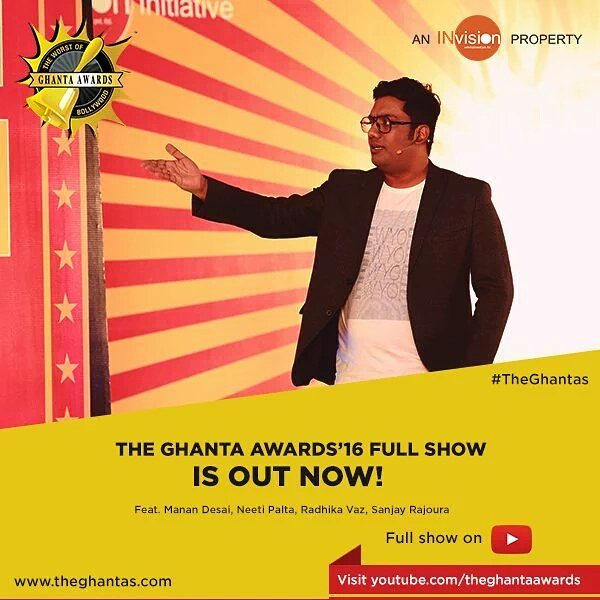 So @theghantas 2016 is out on YouTube for everyone to rejoice, criticise etc. Do share the madness. #theghantas #bollywood #roast