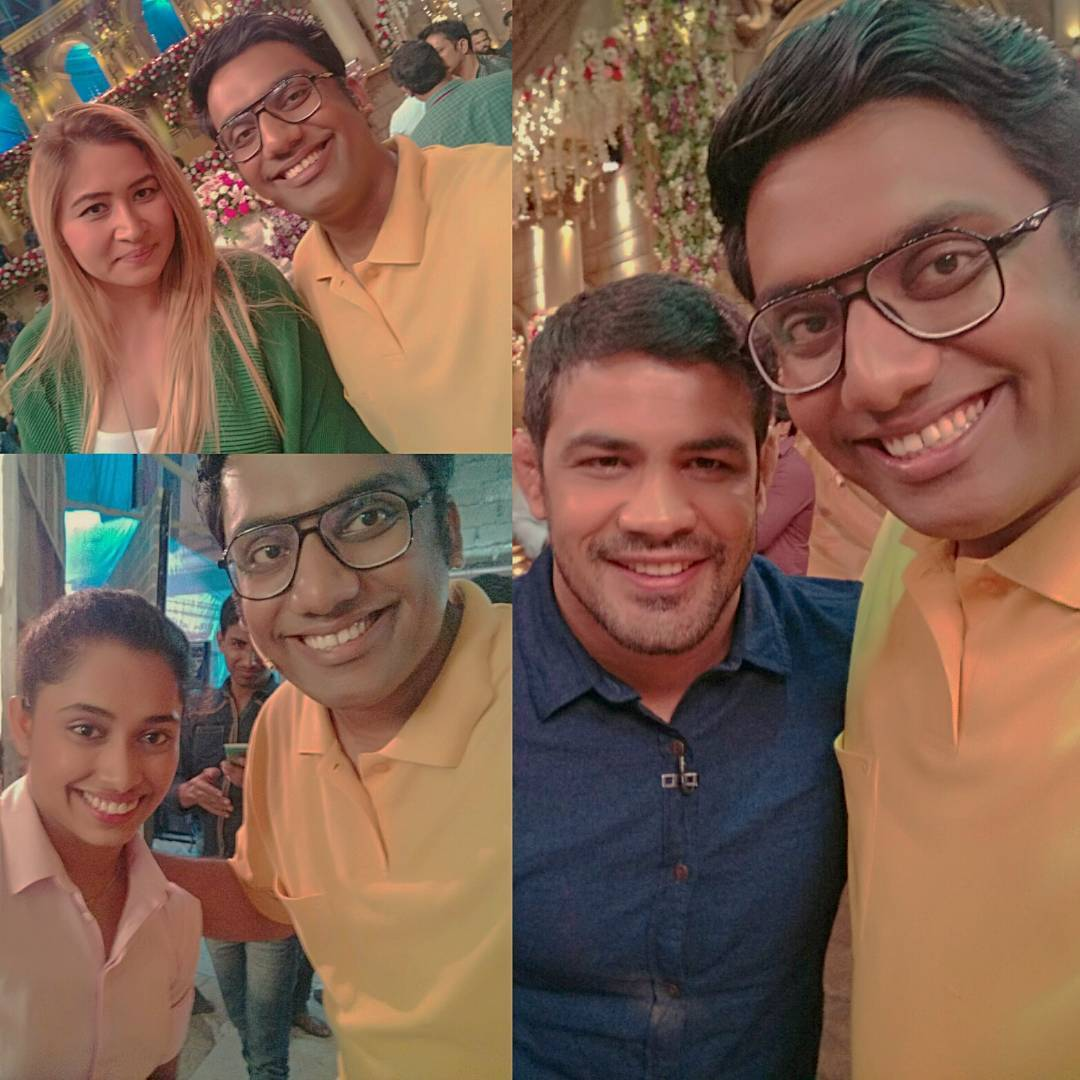With the Olympic Heroes this Sunday on @bachao_comedy_nights at 10 PM on @colorstv - Don't miss it. #Bachao #OlympicHeroes #jwalagutta #SushilKumar #dipakarmakar