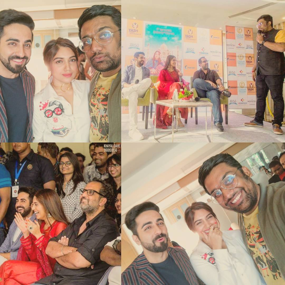 Such great fun promoting #ShubhMangalSaavdhan in #ahmedabad  New Video coming on our channel very soon. Silly madness assured.  @psbhumi is my new favorite human. @ayushmannk hope you get your dandiya up before Navratri.  Thanks Khayal Dave for the pics.