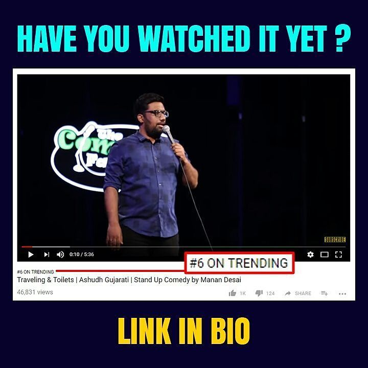 This was trending at #6 last night. Such madness!! Though appreciation matter more to me than numbers and I've received some great comments for the first video. Now even I am tempted to release all videos as soon as possible. But as they say.. Sabr ka phal meetha hota Hai !! #StandUpComedy #Gujlish #ashudhgujarati