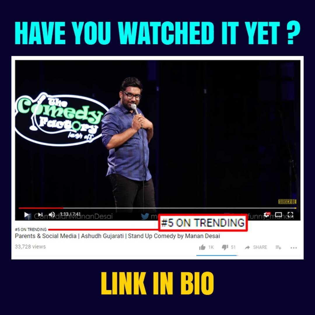 My latest stand up video was trending couple of days back. If you've seen it already... Watch it again !!! Majha aayega !! #AshudhGujarati #TheComedyFactory