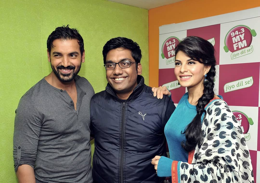 They had recasted for Race 3. It was a story about how I turn out to be Elon Musk on the verge of taking revenge from Mark Zuckerberg but John Abraham ruins the plan with an Item Number.  But Bhai got out. Damn you Bhai !!! I hope you don't get EIDI this year.  #Throwback #Race2 #RadioInterview #MyFm #Ahmedabad #Promotions