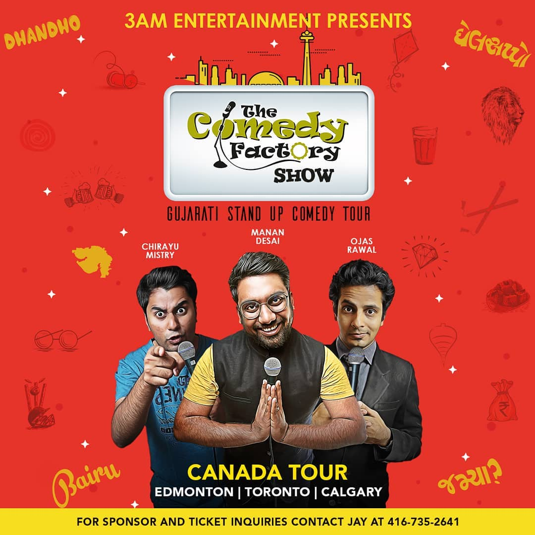 Ek favour joie chhe yaar... Tamara friends and family waala hashe ne Canada maan.. emney tag athwa tto message kari do ney.  25th May - Edmonton (Tonight) 26th May - Toronto 27th May - Calgary  Bauj dhamaal clean Comedy waalo family show. Tickets and other details link in Bio.  #TheComedyFactory #CanadaTour #StandUpComedy #ImprovComedy