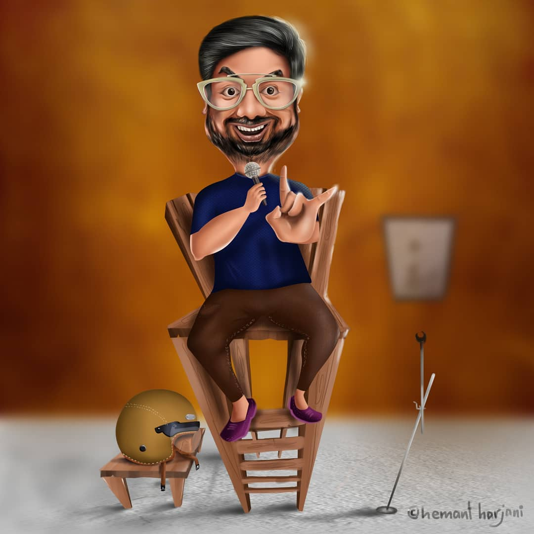Open Mics is life. It is all about the details.  Thank you @hemantharjani Loved your work. Give him a follow guys.  #OpenMics #StandUpComedy #caricature