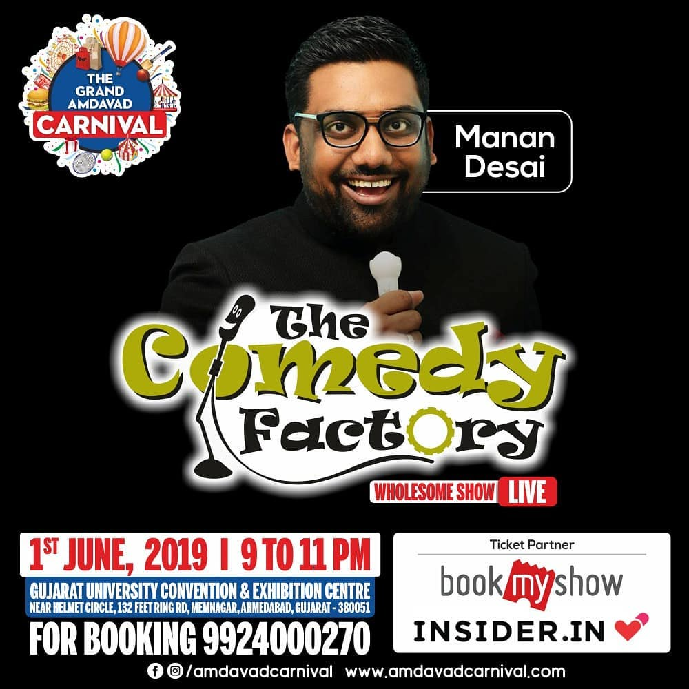 One big show before we head to Australia!!! #AavtiRehje @amdavadcarnival  Will be doing the show with @thecomedyfactoryindia