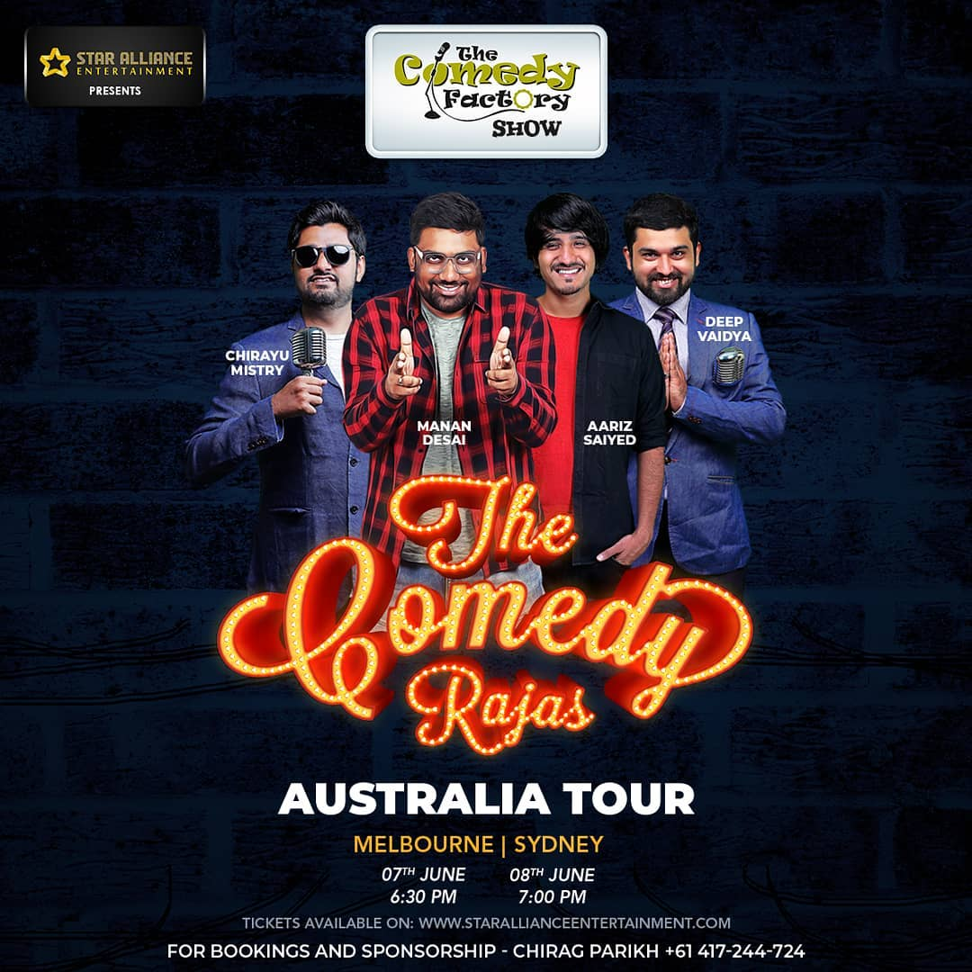 Aaje aney Kaale. Melbourne and Sydney. Let your friends and family know.  #AustraliaTour #thecomedyfactory