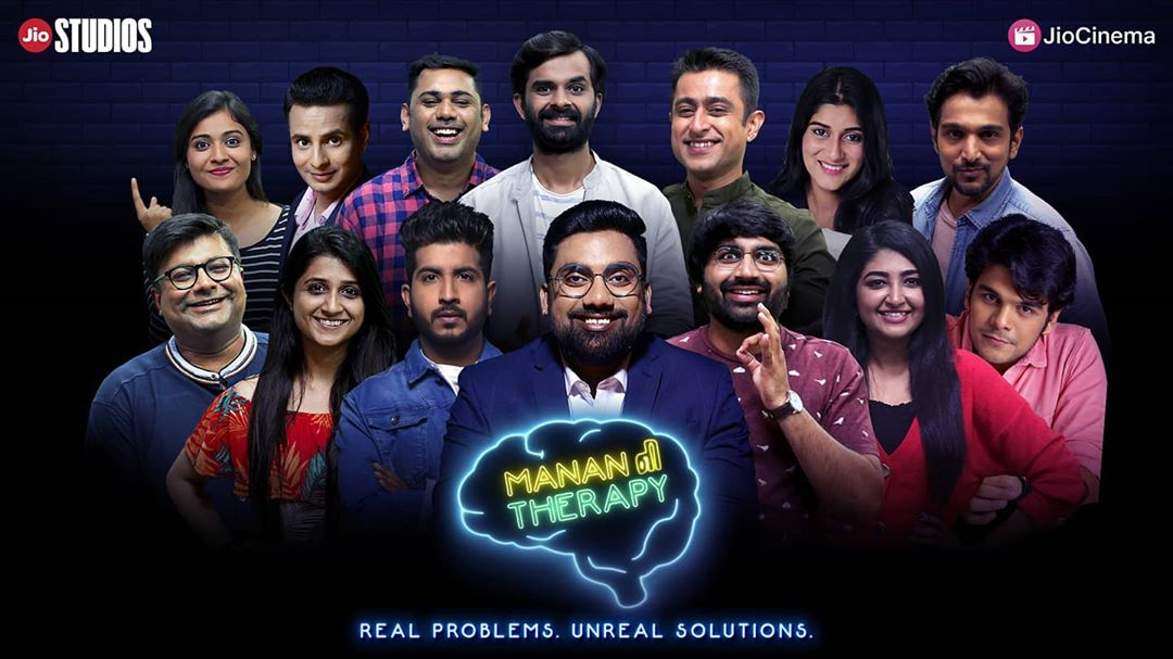 Presenting મનન ની Therapy. It has been more than a year since we at @thecomedyfactoryindia have worked for this. Bringing you the one of its kind talk show addressing mental health issues in the most awkward manner possible. I am a fake celebrity psychologist trying to get a big break in the Gujarati Film Industry. Working with my struggling theatre actor brother in law @nautankideep who is a receptionist at the clinic with recurring characters by @aarizsaiyed @chirayu_m @om_funnyguynextdoor  First Episode comes out tomorrow. This will be available for free viewing on Jio Cinema App & Jio Studios YT channel.  Lot of thank yous and sorrys to follow. This is our biggest project till date and now we give it to you during these crucial times. It's upto you if you want a season 2. પણ પેહલા જોઈ લો.