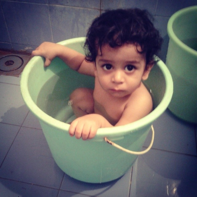 Baby in doll. #gujju  My favourite kid. Preeti's son. Little K. Kabir! Can't wait for him to grow up and become the youngest comedian in circuit. #cute #bath #baby #sweet