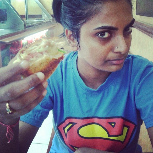 My Superwoman offering me last bit of her sub. #subway #parmesan