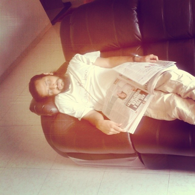 Old Ashram Guy dozed off on my recliners while reading The sexpert column. #ojas #sleepyhead