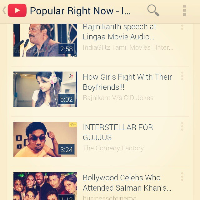 Interstellar for Gujjus trending in the top 50 popular videos list on @YouTubeIndia